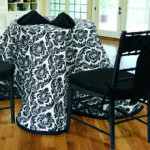 custom tablecloths in black and white damask